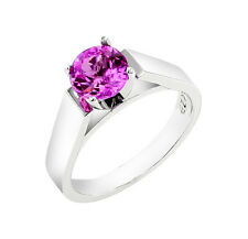 14k White Gold Engagement Ring 1.5 Cttw. Created Pink Sapphire