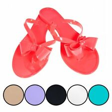 Chatties Bow Jelly Thong Flip Flop Sandals Ribbon Beach Pool Spa Neon Color Shoe