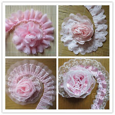 Gathered Pleated Lace Edge Trim Bridal Wedding Ribbon Applique Sewing Pink Craft