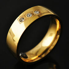 Womens Yellow Gold Filled CZ Band Promise Love Band Ring Size 7 8 9 10 11