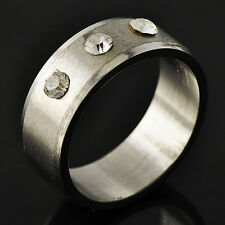 Men's Unisex White Gold Filled Clear CZ Promise Love Band Ring Size 8 9 10 11