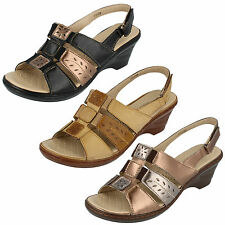 LADIES EAZE OPEN TOE SLINGBACK SANDALS (3 COLOURS) F3108