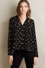 NWT Anthropologie Conversationalist Buttondown Shirt Top Blouse Black Cat Sz 2