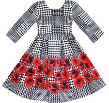 Girls Dress 3/4 Sleeve Elegant Black Checkered Red Flower Size 7-14