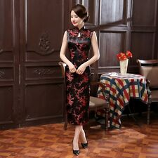 Black/red Chinese Sleeveless Women's Silk Satin Long Dress Cheong-sam S-3XL
