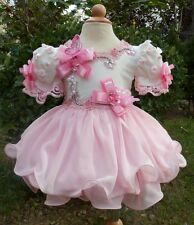 Infant Girl's Pageant Dress Stones Beaded pink white Size 1~10T New G002