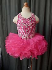 Infant Girl's National Pageant Dress Stones Beaded Pink/Blue Size 1~10T G047