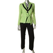 Le Suit 2pc Green Woven Contrast Black Trim Jacket & Black Pant Suit Set - NEW