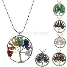 Handmade Wire Wrap Tree Of Life Pendant Natural Gemstone Chips Bead Necklace