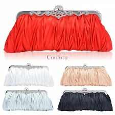 Women Satin Crystal Clutch Party Wedding Purse Soft Evening Bag Bridal Handbag C