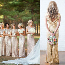 Women Lady Sequins Long Dress Formal Cocktail Party Ball Gown Bridesmaid Dress