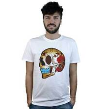T-shirt Mexican Skull with Roses, T-shirt white style Tattoo Rock