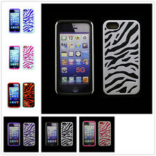 Zebra Hybrid Hard Impact Soft Silicone Combo Case Cover For Apple iPhone 5 5S 5G