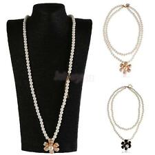 Charm Double Layer Fashion Camellia Flower Pendant Faux Pearl Sweater Necklace