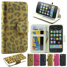 Leopard Leather Card Wallet Flip Stand Cover Case for iPhone 4S 4 4G Free Screen