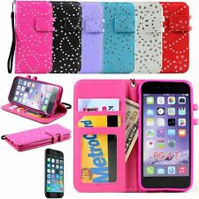 Crystal Diamond Flip Leather Wallet Case Cover for iPhone 6 + Screen Protector