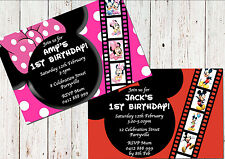 PERSONALISED INVITATIONS Mickey / Minnie Mouse 1st Birthday Party Invites