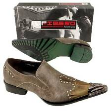 New Fiesso Coffee Pointed Toe w/ Metal Tip & Studs Leather Slip on Shoes FI 6763
