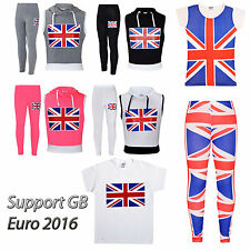 Support GB Euro 2016 Girls Boys Ladies Union Jack Top Legging Outfit Set Costume