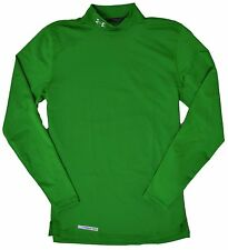 Under Armour Mens Long Sleeve Mock Neck Green Cold Gear Anti-Odor Fitted Shirt N