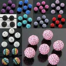 10mm Round Ball Pave Crystal Rhinestone Loose Spacer Beads Jewelry DIY Findings