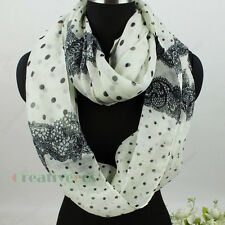 Fashion Women's Dot Lace Print Infinity Scarf Loop Cowl Circle Voile Snood Shawl