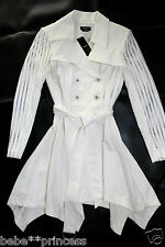 NWT bebe cream white hi low long lace sleeve coat jacket top trench XS S M L