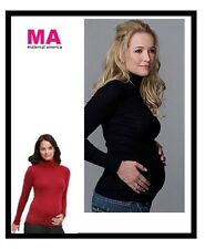 MATERNAL AMERICA MATERNITY RIBBED TURTLENECK LONG SLEEVE TOP BLK OR RUST LG  NWT