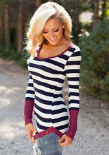Fashion Blouse Casual Neck Top Long Sleeve Loose Women Crew Striped T-Shirt Sexy