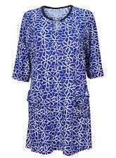 Plus Size Ex Chainstore 3/4 Sleeve Blue Floral Print Tunic Dress Size 16-28