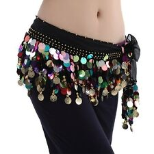 Belly Dance Costume Colorful Coin Sequins Hip Scarf Skirt Hawaiian hula Hip Wrap