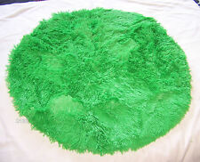 Funky Brights Shaggy Faux Fur Floor Throw Rug 80cm Round New *Biscuit Colour*
