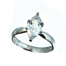 1ct Cubic Zirconia Marquise Shape CZ .925 Sterling Silver Ring Size 5,6,7,8,9,10