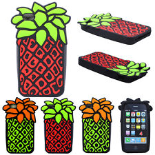 Cute 3D Pineapple Fruit Design Soft Silicone Case Cover For Apple iPhone 4 4S 4G