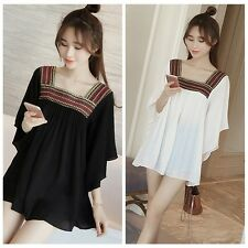 Women's Embroidery Square Neck Chiffon Mini Flare Sleeve Dress Loose Tops Blouse