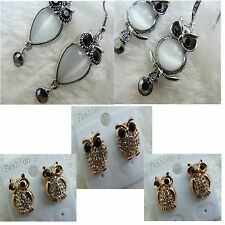 Cat Eye Clear Champagne Dark Crystal Tear Drop Owl Silver Dangle Pin in Earrings