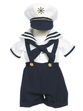 New Baby Toddler Boys Nautical Navy Sailor Short Suit Set Outfit with Hat 160F