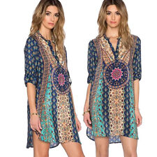 Women Bohemian Vintage Printed Summer Beach Cocktail Party Dress Casual Shirt