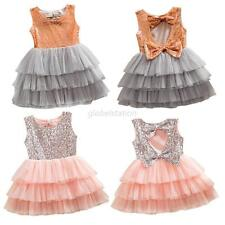 Princess Girl Kids Baby Sequined Bow Party Pageant Wedding Tulle Tutu Cake Dress