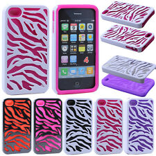 Zebra Hybrid Hard Impact Soft Silicone Combo Case Cover For Apple iPhone 4 4S 4G