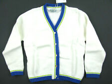 NWT Papo d' ANJO white cardigan w/ blue & chartreuse trim 2-4-5-6 years
