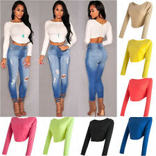 New Fashion Women summer Long Sleeve Solid Bare midriff Casual Shirt Tops Blouse