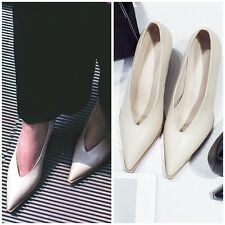 Stylish Leather Pointed Toe Black Beige Curved Heels Pump Shoes