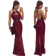 Sexy Women Lace Slim Backless Evening Cocktail Party Prom Gown Braces Dress