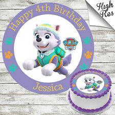 """PAW PATROL EVEREST 7.5"""" ROUND EDIBLE BIRTHDAY CAKE TOPPER DECORATION PERSONALISE"""