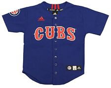 Chicago Cubs Adidas Youth Baseball Full Button Up Blank Jersey-3723