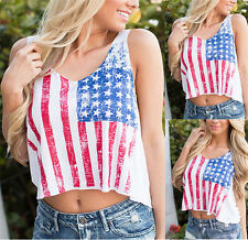 Stripes American Flag USA Stars Tank Crop Top Women Casual Blouses T shirt New