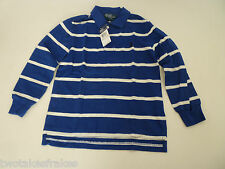 Ralph Lauren Boys Long Sleeve Blue & White Polo Top Rugby Shirt L/S 6 NEW Age 5