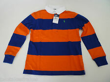 Ralph Lauren Boys Long Sleeve Blue & Orange Polo Top Rugby Shirt L/S 6 NEW Age 5