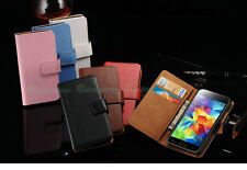 Genuine Leather Flip Case Cover Stand Wallet for New Samsung Galaxy S5 & S5 Mini